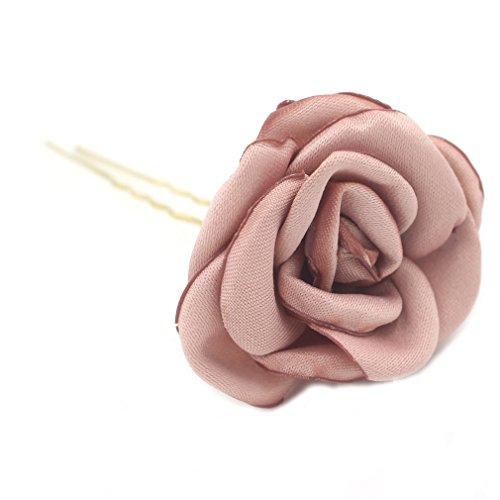 Haar Mode Net (YAZILIND Mode Tuch Rosen Haarnadeln Braut Haar Zubehör Westlicher Stil Hochzeit Kopfschmuck für Frauen (rosa))