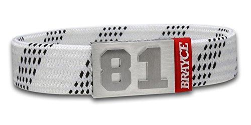 BRAYCE® Eishockey Schnürsenkel-Armband weiß mit Deiner Nummer 00-99 (Trikotnummer, Spielernummer, Glückszahl): Der Schmuck für DEL, DEL2 & NHL (Fanartikel)