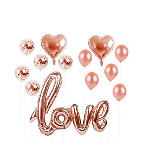 YZLSM 1set Herz Konfetti Luftballons Für Hochzeit Splendid Luft Gefüllt Foil Liebeskugeln Rose Gold USB Rose Luftballons Hochzeit Luftballons