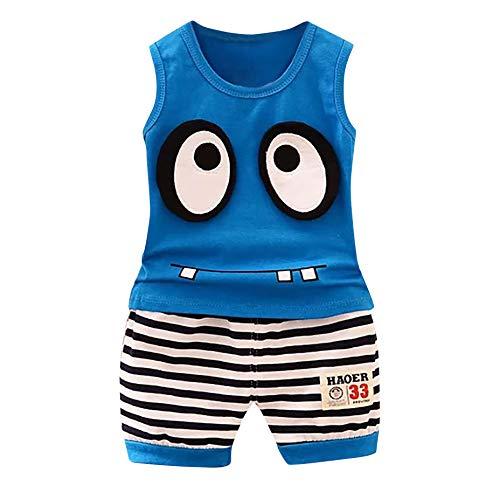 Zolimx Counjunto de Ropa Bebé Niño Verano 2pc Tops de Mangas Corto Letra Impresa Camiseta+Pantalones de Trajes Conjunto de Ropa para Bebés Niños 0-24 años