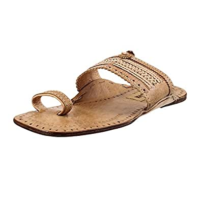 Mochi Men's Beige Leather Kolhapuri Chappal -12 UK