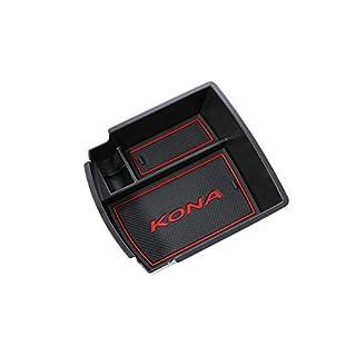 RUIYA Central Console Armlehne Box Angepasst für 2018 Hyundai Kona, Aufbewahrungsbox Console Organizer Insert Tray, Autozubehör (Schwarz und Rot)