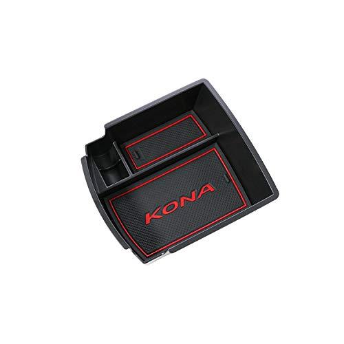 RUIYA Central Console Box bracciolo su misura per Hyundai Kona 2018(Benzina e modello Diesel), vano portaoggetti Console Storage Box inserto vassoio, accessorio auto (Nero e rosso)