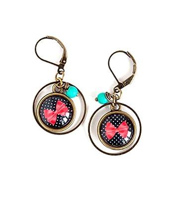 Boucles d'oreilles cabochon 12 mm, noeud papillon rouge, petit noir et blanc