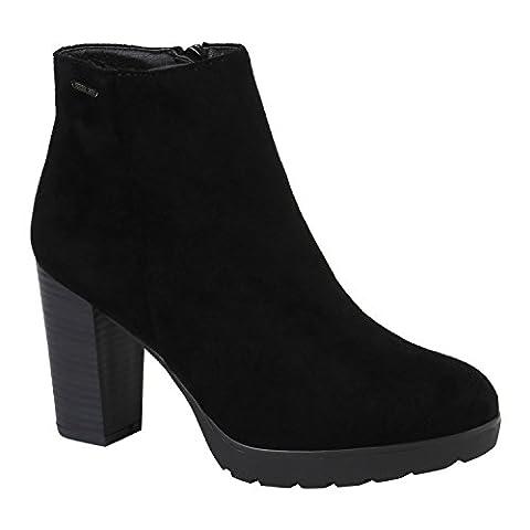 Damen Ankle Boots Plateau Stiefeletten Zipper Holzoptikabsatz Schuhe 148849 Schwarz Samtoptik 36  