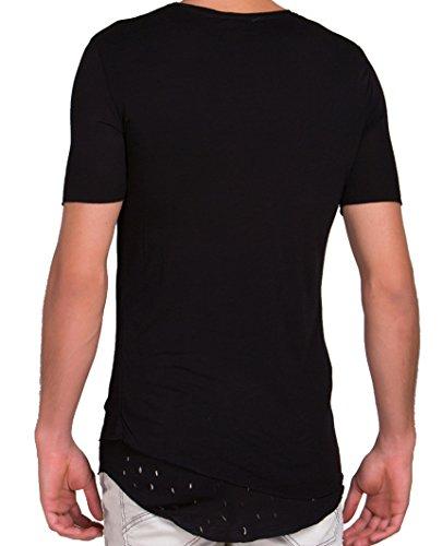 Red Bridge Herren Asymetric Oversized Cuts T-Shirt Schwarz Schwarz