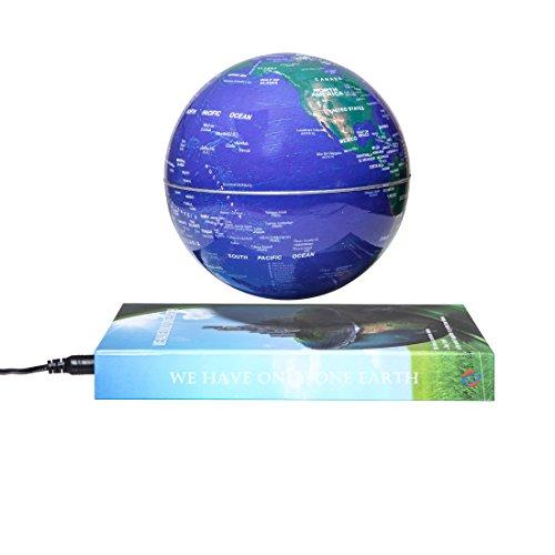 Woodlev magnetica maglev Levitazione Levitron galleggiante rotante 6'Globe Gold & Blue Book Style piattaforma Learning Education espositore Home Decor (oro)
