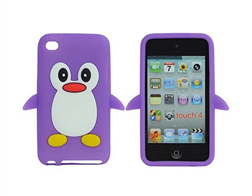 Tsmine Apple Ipod Touch 4. Generation Pinguin-Karikatur-Fall - Cute 3D Penguin Weiche Silikon-Rückseite waschbar Cover Case Schutzhülle für iPod Touch 4. Gen., Lila
