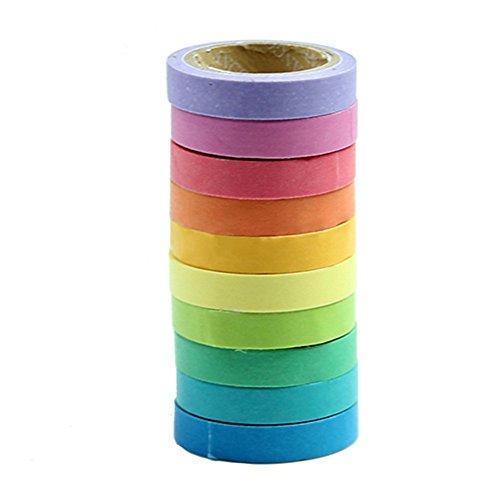 Yixinlifeas 10pcs DIY Craft Scrapbooking que hace la herramienta decorativa Washi Rainbow Paper Sticky Masking Adhesive Tape10 stücke DIY Handwerk Scrapbooking que hace la herramienta decorativa Washi Regenbogen Papier Klebrige Masking Klebeband