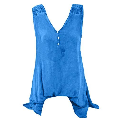 Yvelands Damen Weste Tank Top Plus Größe Tops U Hals Stickerei aushöhlen ärmellose Sommer T-Shirt(Blau1,XXXXXL)