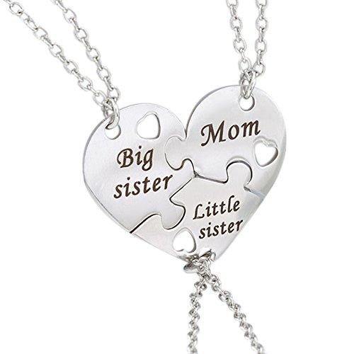 Gudeke Silber Damen Herzform Halskette Aufschrift Mom Big Little Sister Puzzle Anhänger 3 Stück Schwester Freundschaft Herzfömig Mutter - Schwester Anhänger Halsketten