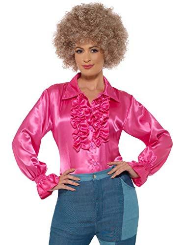 Luxuspiraten - Damen Frauen Satin Rüschen Bluse Kostüm im 70er Jahre Disko Stil, perfekt für Karneval, Fasching und Fastnacht, L, Pink