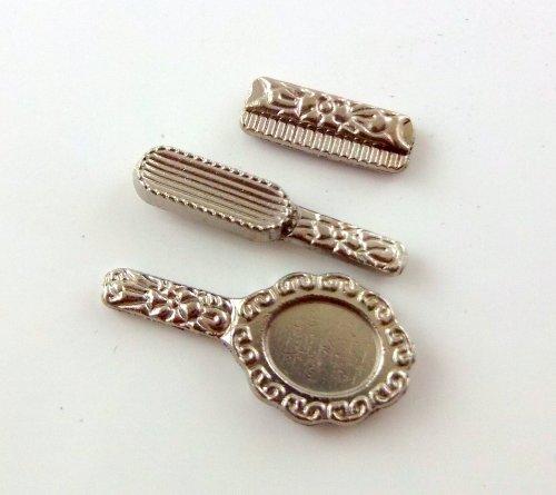 Miniatura Per Casa Delle Bambole 1:12 Accessorio Toletta Set Specchietti Brush Pettine Argento