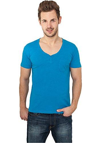 Urban Classics Herren T-Shirt Slub Y-Neck Henley Türkis (Turquoise 00217)