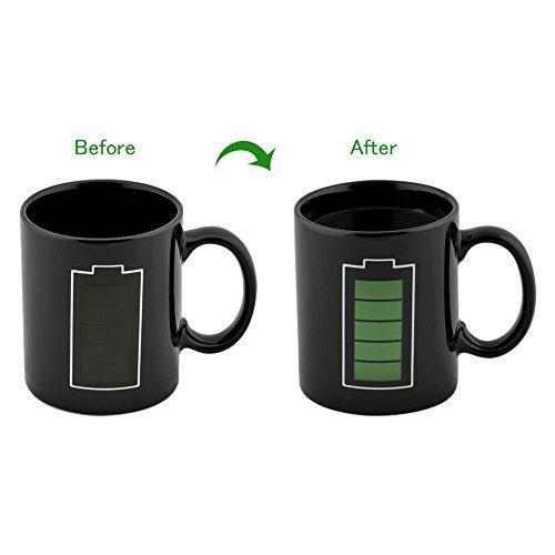 Cozyswan Kaffeetasse Keramiktasse verfärbung Becher Teetasse mit Batterie Geschenk Schwarz