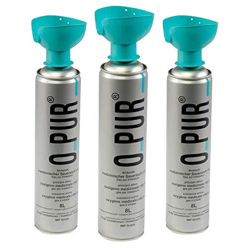 3x 8 Liter Atemhilfe O-PUR® reiner Sauerstoff Sauerstoffmaske Sauerstoffflasche Dose Spray