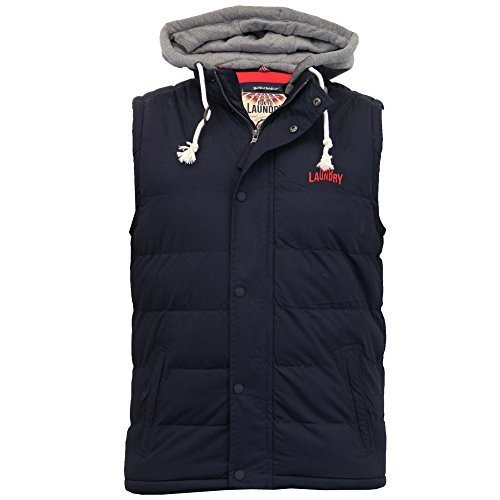 Herren Weste Tokyo Laundry Körperwärmer Sweat Mit Kapuze Wattiert Gefüttert Fleece Winter Neu Schwarz - 1J8353