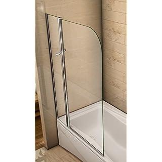 Aica 1200X1400mm Chrome 180 Degree Pivot Bath Screen Toughened Glass Panel, Metal, 100 x 2.6 x 140 cm