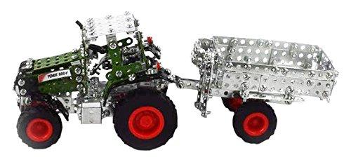 Tronico 09520 - Metallbaukasten Traktor Fendt 800 Vario mit Kippanhänger, Maßstab 1:64, Micro Serie, grün, 577 Teile