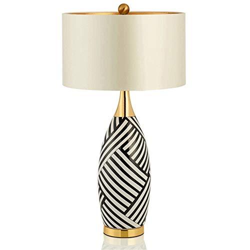 ZENGJIAWEI Zebra Streifen Keramik tischlampen Foyer Nacht Dekoration licht weiß Tuch lampenschirm Studie led leseleuchte -