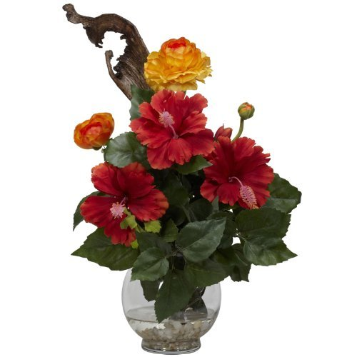 Nearly Natural 1287 Hibiscus and Ranunculus with Fluted Bowl Silk Flower Arrangement, Red by Nearly Natural Fluted Bowl