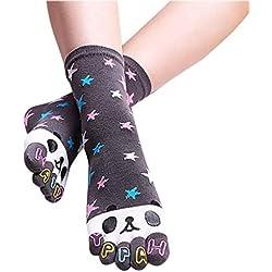 Yvelands Panda De Bande DessinéE Chaussettes Chaussettes Cinq Orteils Sock 1 Paires(Gris,Free Size)
