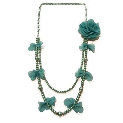 Collier long femme sautoir perles nacrées et tissu fleur broche Au choix Vieux rose OU Vert