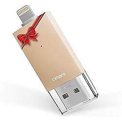 Omars Clé USB 128Go pour iPhone iPad USB3.0 et Lightning USB [Certifié Apple MFi] Dual Port Flash Drive pour l'Extension du Stockage et Transfert de Données