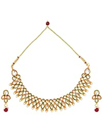 Dancing Girl Bridal Dulhan Maroon Green Metal Alloy Jewellery Set With Necklace And Earring For Women