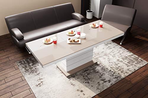 HU Design Couchtisch Matera Lux H-333 Hochglanz und Matt höhenverstellbar ausziehbar Wohnzimmertisch (Cappuccino Hochglanz/Weiß Hochglanz)