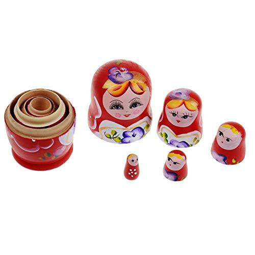 Matryoshka Dolls Nesting Dolls for Kids, Buy one get one Free, Children es Wooden Stacked Nesting Handmade Toys Best Gift, 5Pcs