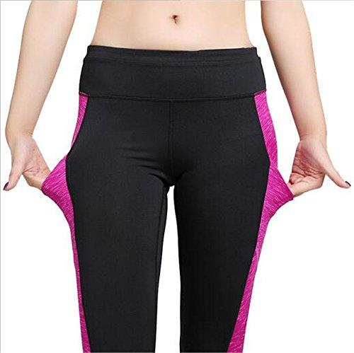 Hoverwings Femmes Vêtements de Yoga imprimés pantalons de conditionnement FitnessTraining Pantalons (XL, Rose) Rose