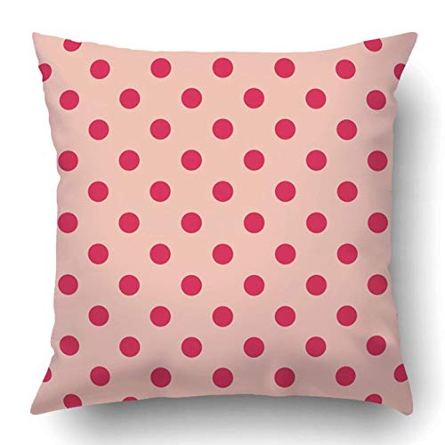 Wfispiy Wurfkissenbezugs Small Pattern Red Polka Dots on Baby Pink Retro Design Blog Www Party Wedding Country Polyester Cushion Cover 18