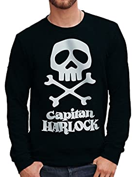 Felpa Girocollo CAPITAN HARLOCK TESCHIO LOGO - CARTOON by Mush Dress Your Style