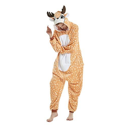Missley Einhorn Pyjamas Kostüm Overall Tier Nachtwäsche Erwachsene Unisex Cosplay (L, Elk)