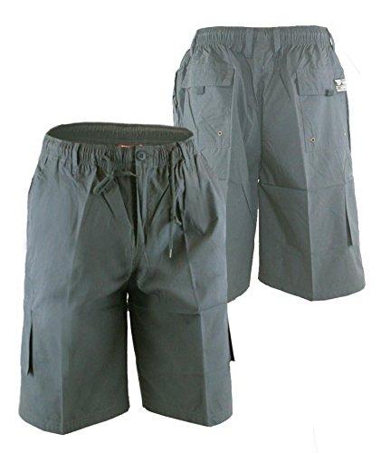 Duke Herren 's Kingsize Big & Tall Cargo Combat Knie Länge Shorts mit geformtes Bein Taschen Gr. XXXX-Large, grau (Tasche Tall)