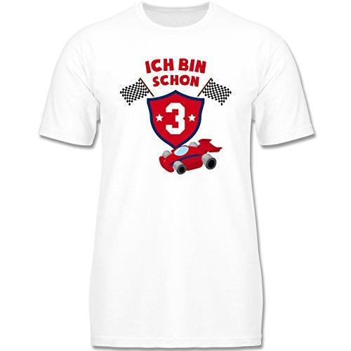 g Kind - Ich Bin Schon 3 Rennauto - 104 (3-4 Jahre) - Weiß - F140K - Jungen T-Shirt (Oster-shirts Für Jungen)