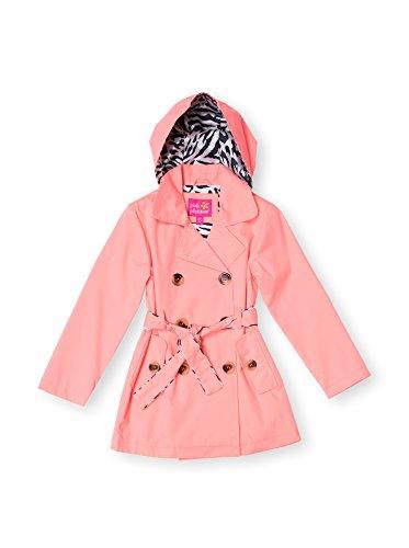 Pink Platinum Girls 4-6X Fashion Neon Trench Rain Jacket (4, Coral) (Print Animal Trench Coat)