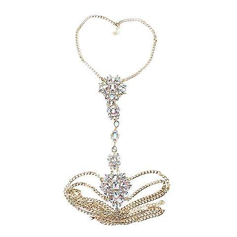 TOOKY Women Bikini Harness Necklace Beads Belly Crossover Body Chain Choker