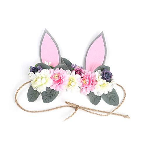 (Böhmen Frauen Blume Stirnband Niedlichen Kaninchen Ohren Form Haar Kranz Blumenkrone für Mädchen 1 Stück)