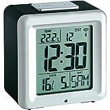 TFA Dostmann 60.2503 Digitaler Funk-Wecker, manuelle Einstellmöglichkeit, Kalenderanzeige, mit automatische Nachtbeleuchtung, 6 x 8,6 x 8,6 cm, schwarz/silber
