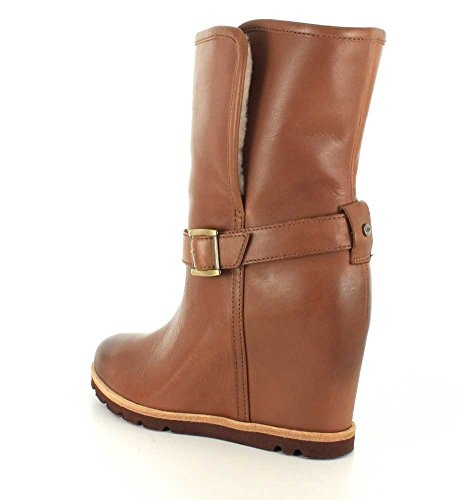 Ugg Australia Women's Ellecia Women's Leather Boots In Black 100% Leather Brown