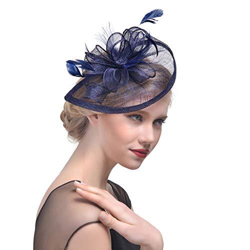 uen Hochzeit Hut Fascinator Feder Mesh Party Cocktail Kopfschmuck Haarspange Roral Blau ()