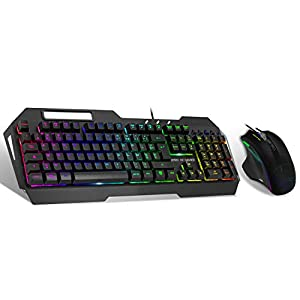 SPIRIT OF GAMER – Tastatur + Maus Gaming Pack ELITE-MK30 – Tastatur AZERTY Gamer ELITE-K30 RGB 19 Tasten Anti-Ghosting Ständer für Smartphone / Maus ELITE-M30 3200 DPI 7 Tasten – PC / XBOX ONE / PS4