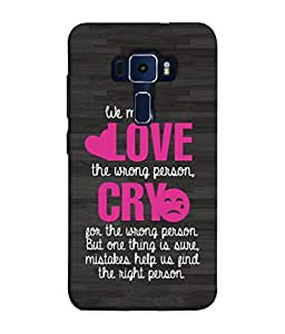 FUSON Designer Back Case Cover for Asus Zenfone 3 Laser ZC551KL (5.5 Inches) (Mistakes Help Us Find Correct Person Hearts )
