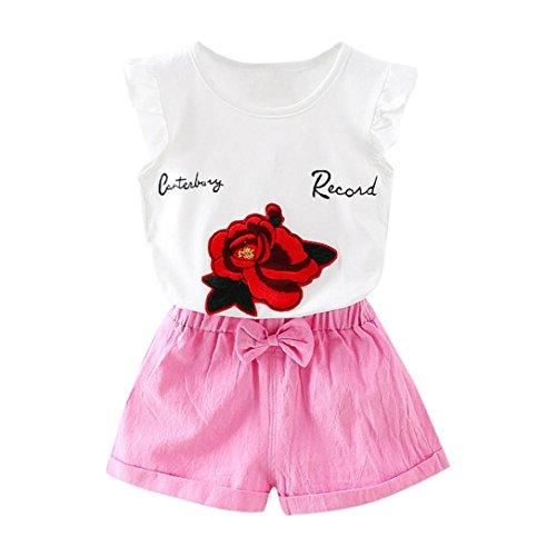 Bonjouree Shorts Et T-Shirt Fille Hauts Blanc Sans Manches Imprimé Rose Et Shorts à Bowknot Ete pour enfant Fille 1-5 Ans (Rose, 2 Ans)