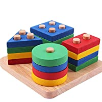 Hmjunboys Wood Collection Shape Sorter Stack Wooden Educational Toy Brain Teaser Puzzles Shape Geometric Sorting Board Column Puzzle Building Block Set Early Learning for Kids 1-3 Years Old.