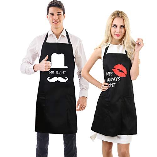 Uarter Divertente da cucina Grembiuli per le coppie 'Mr. Right Mrs. sempre ragione' con 2 tasche Nero Grande, confezione da 2