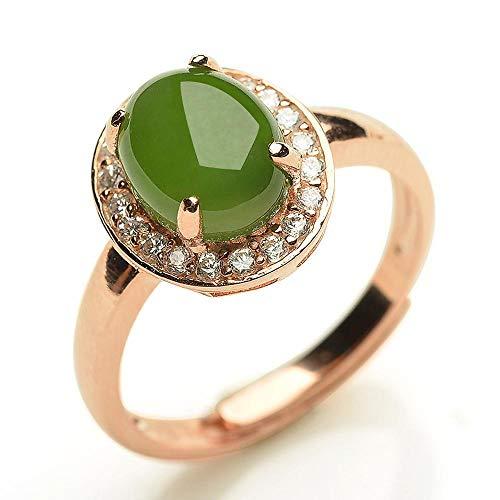 Zhiming 925 versilbert stieg Gold eingelegten Jade-Cabochon Ring Frauen natürliche Jade und Nephrit Ring
