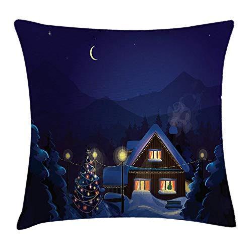 ERCGY Christmas Throw Pillow Cushion Cover, Winter Scenery with Designed House and Tree at Night Family Themed Concept Art, Decorative Square Accent Pillow Case, 18 X 18 inches, Purple ()
